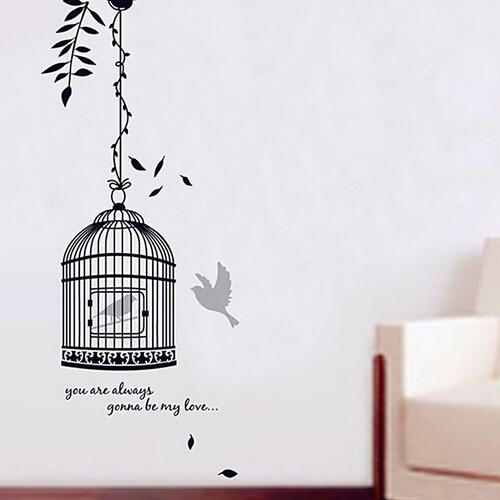 Black Birdcage PVC Removable Wall Art Decal Sticker