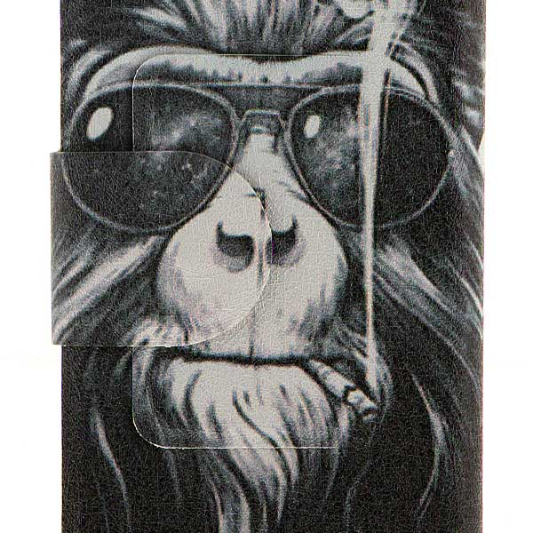 Kinston Smoking Monkey Pattern PU Leather Full Body Case with Stand and Card Holder for Huawei P6