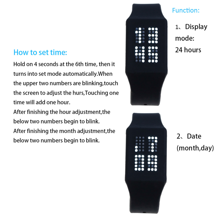 T21408 LED Touch Watch Date Display Wristwatch with Silicone Strap