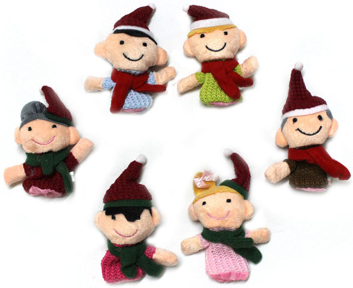 Christmas Family Knitted Finger Puppet Cloth Baby Toy for Early Education - 6Pcs