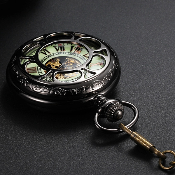 Automatic Mechanical Pocket Chain Watch with Luminous Dial Hollow Out Design