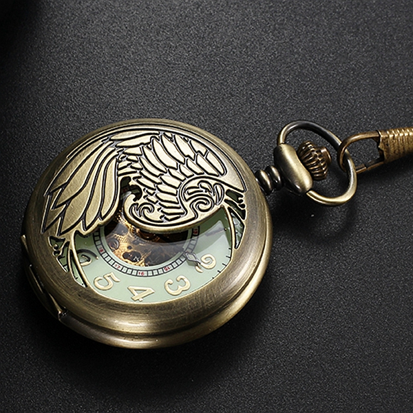Luminous Dial Hollow-out Style Automatic Mechanical Pocket Chain Watch