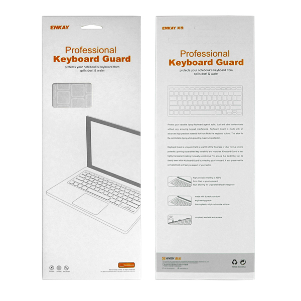 ENKAY 3 in 1 Transparent Crystal Protective Hard Case Keyboard Film Anti-dust Plugs for MacBook Air 13.3 Inch
