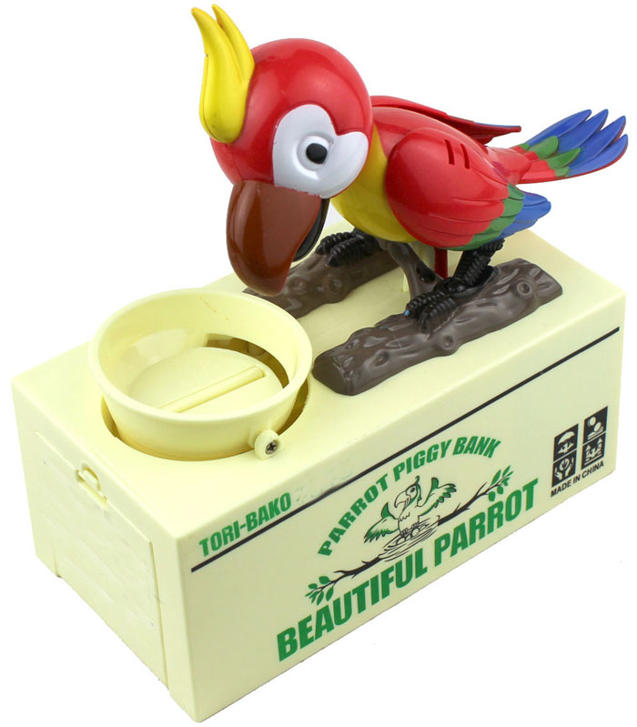 Eatting Money Greedy Electric Parrot Shaped Coin Bank Saving Box