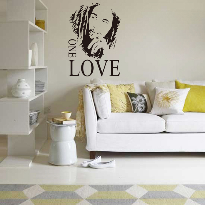 Creative Bob Marley One Love Style Removable Wall Stickers Water Resistant Home Art Decals