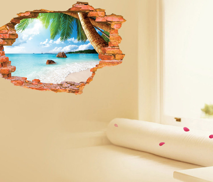 3D Beach Style Creative Wall Sticker Removable Wallpaper Water Resistant Home Art Decals