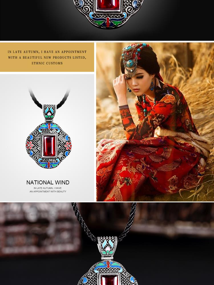 N005-B Women Antique National Style Carving Pendant Necklace