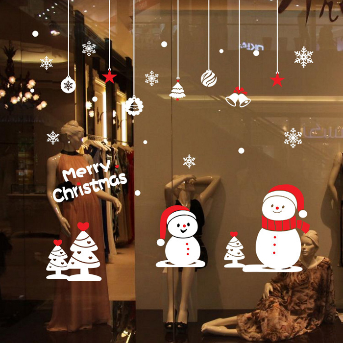 Christmas Small Snowman Style Wallpaper Removable PVC Wall Stickers for Xmas Party Ornament