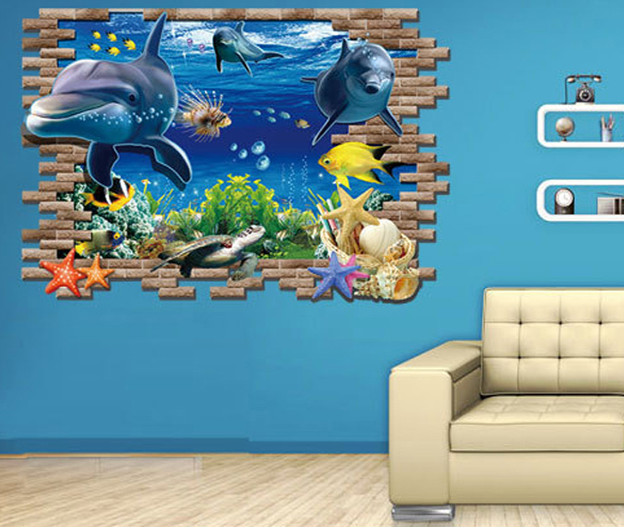 3D Underwater World Design Wall Stickers Water Resistant PVC Home Art Decals