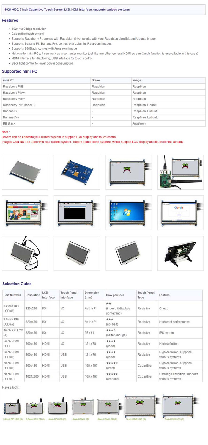 Waveshare 7 inch 1024 × 600 Pixels HDMI LCD Module with Bicolor Case