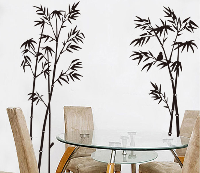 Bird Bamboo Personality Style Removable Wall Sticker Water Resistant PVC Wallpaper