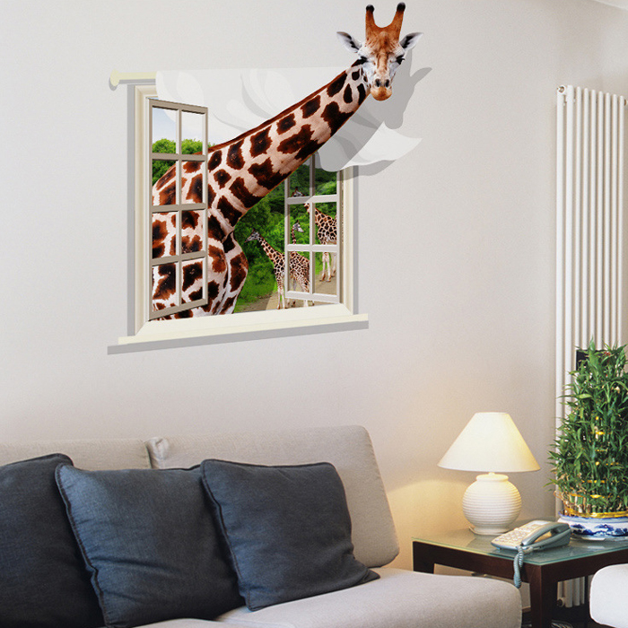 Creative 3D Cute Giraffe Style Removable PVC Wall Stickers Water Resistant Home Art Decals