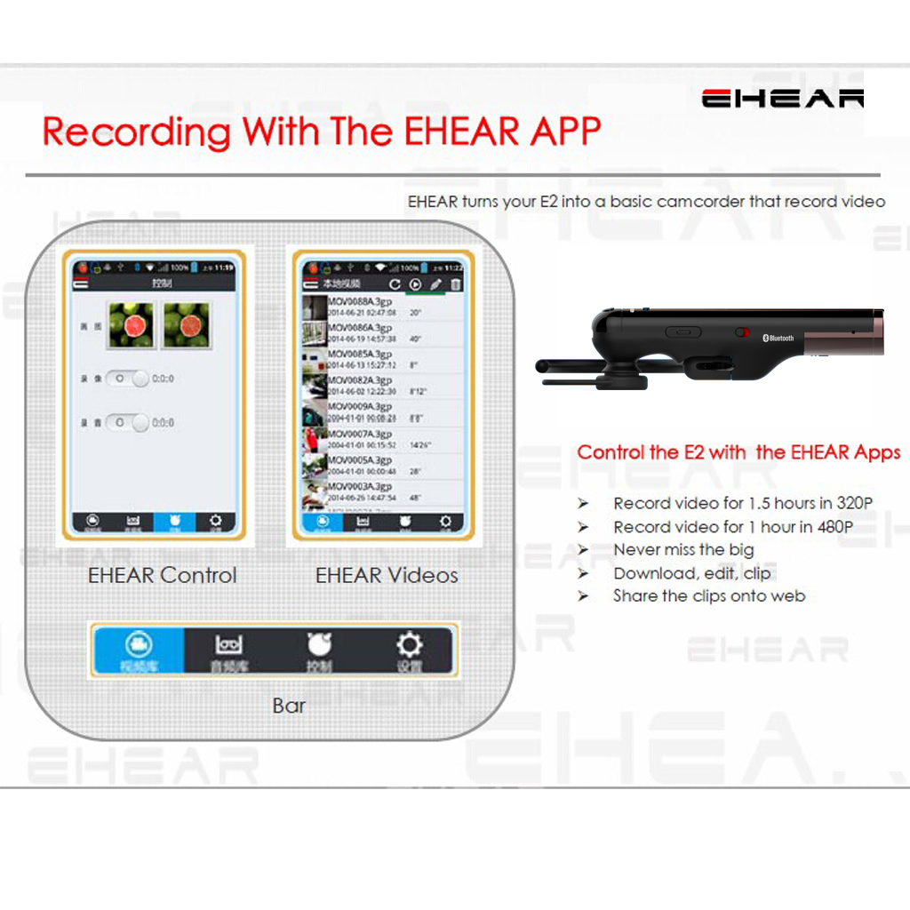 EHEAR E2 Portable Sports Video Cam CMOS Camcorder Bluetooth Headset for Samsung Galaxy Note 3 / Note 4 / S5