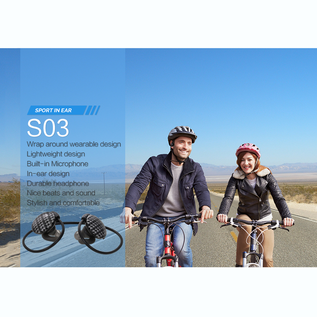 Ausdom S03 Bluetooth Wireless 4.0 Sport Healthy Earphone Headphone Hands-free for Android iOS Phone