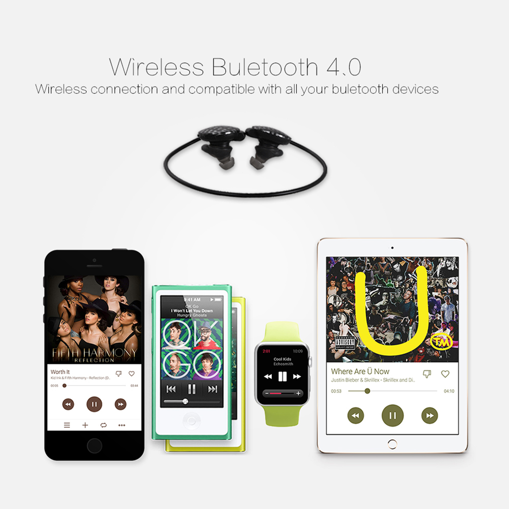 Ausdom S03 Bluetooth Wireless 4.0 Sport Healthy Earphone Headphone Hands-Free for Android IOS phone 6S / 6S Plus/ Samsung / HTC / PC / Tablet