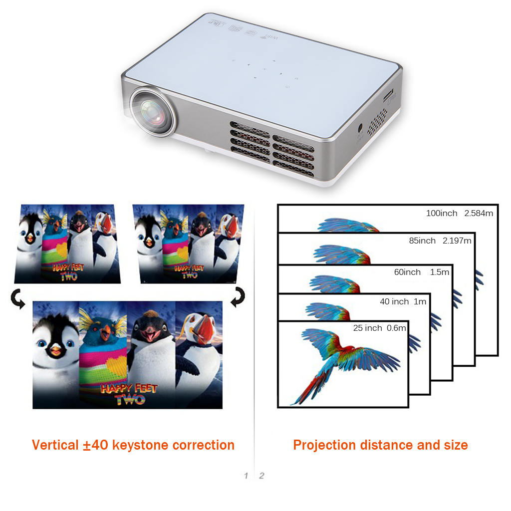 Excelvan Portable DLP android 4.4 wifi Mini Full 3D HD Projector for Home Theater 1280*800