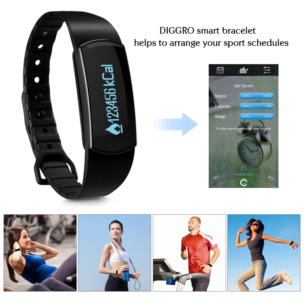 Diggro SH07 OLED Smart Bracelet Bluetooth 4.0 Sports Wristband IP67 Waterproof Pedometer Calorie Sleep Tracker Call Reminder Remote Capture for Android iOS