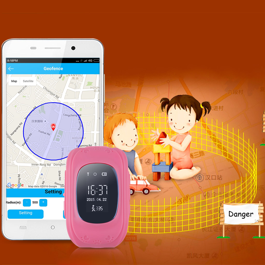 Excelvan Q50 Kids Smart Watch GPS LBS Double Location Safe Children Wristwatch Activity Tracker SOS Call 2G GSM Micro SIM for Android / iOS