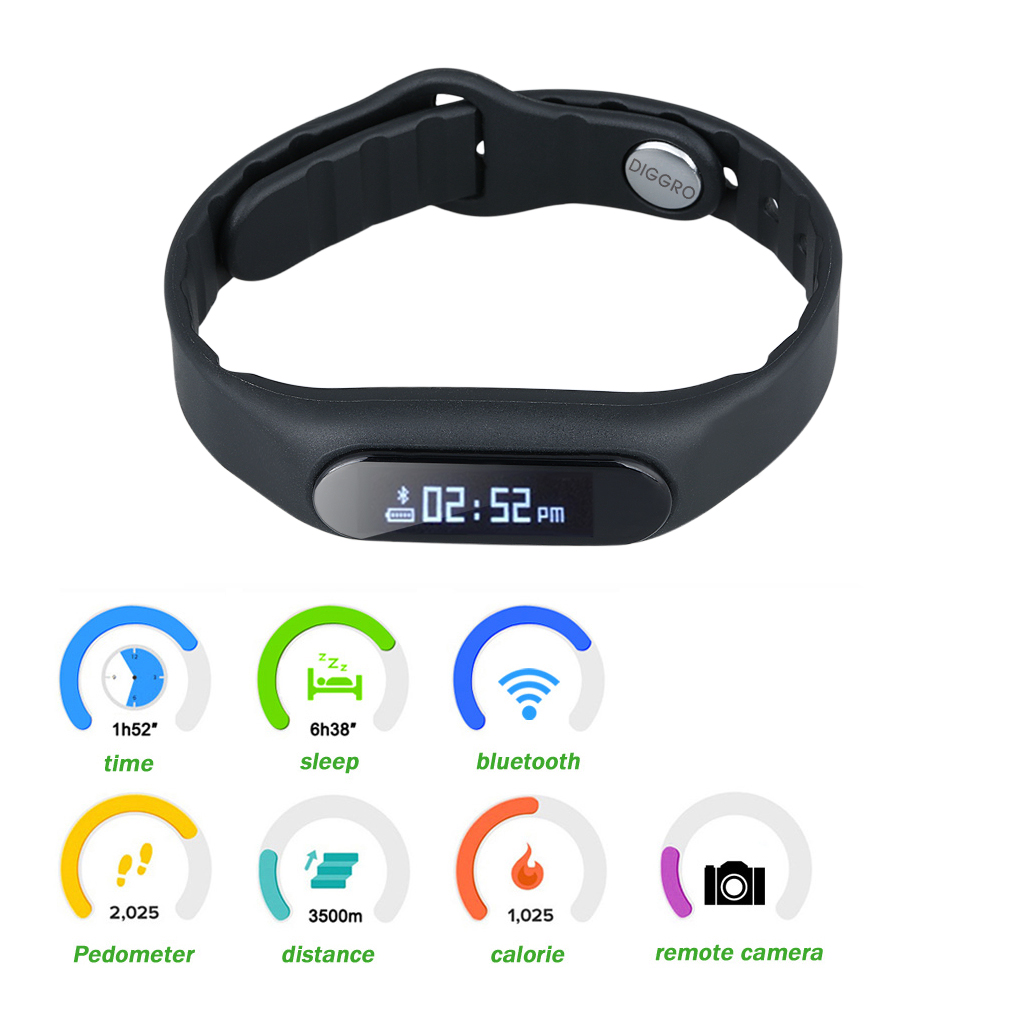 DIGGRO E06 Smart Healthy Bracelet IP67 Waterproof Bluetooth V4.0 Wristband with Pedometer Sleep Monitor Calorie Tracker Remote Capture Compatible for Android and iOS
