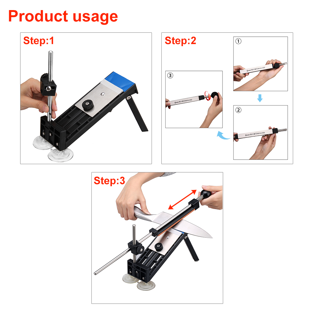Professional Kitchen Knife Sharpener Sharpening NEW Updated Fix Fixed Angle with 4 stones I