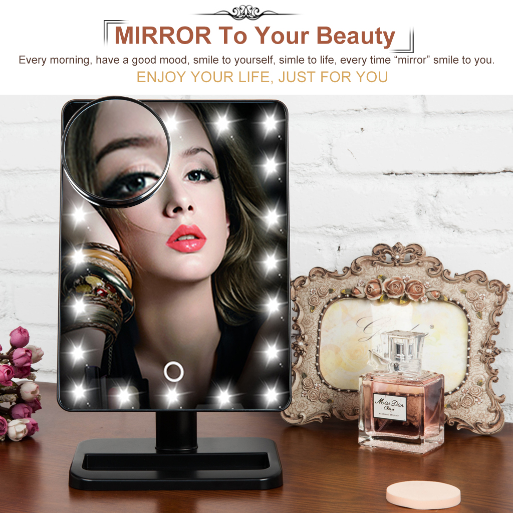 Ovonni L207A 10X Magnifier LED Touch Screen Makeup Mirror Portable 20 LEDs Lighted Make-up Cosmetic Adjustable Vanity Tabletop Countertop