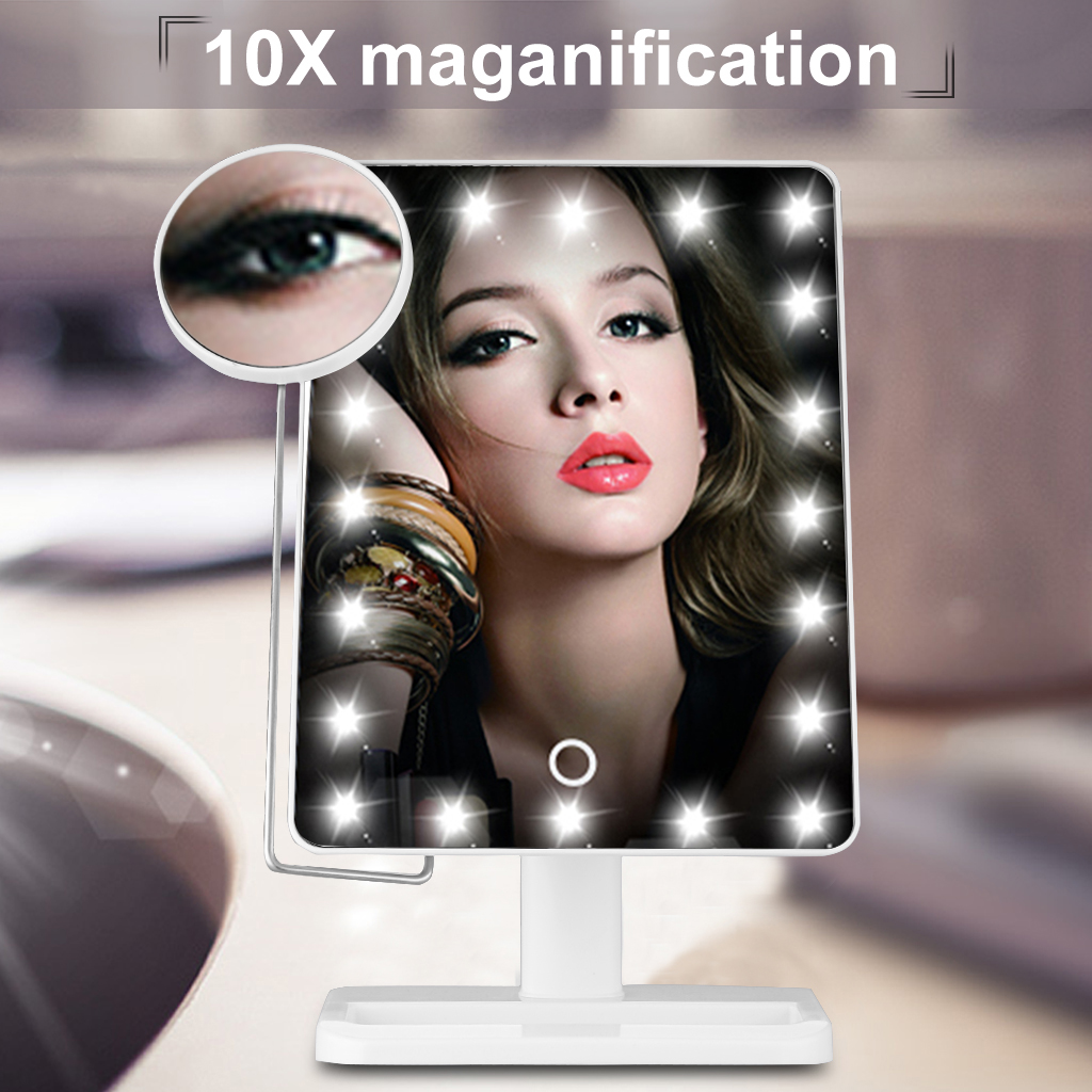 Ovonni L208 10X Magnifier LED Touch Screen Makeup Mirror Portable 20 LEDs Lighted Make-up Cosmetic Adjustable Vanity Tabletop Countertop