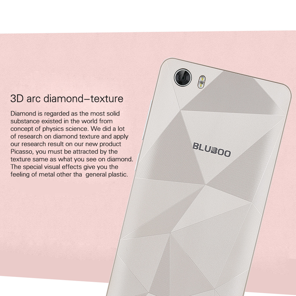 BLUBOO Picasso 3G Android 5.1 5.0 inch HD On-Cell IPS LTPS 1280 x 720 Pixels  MT6580 64 Bit Quad Cores 1.3GHz RAM 2GB 16GB ROM Dual SIM