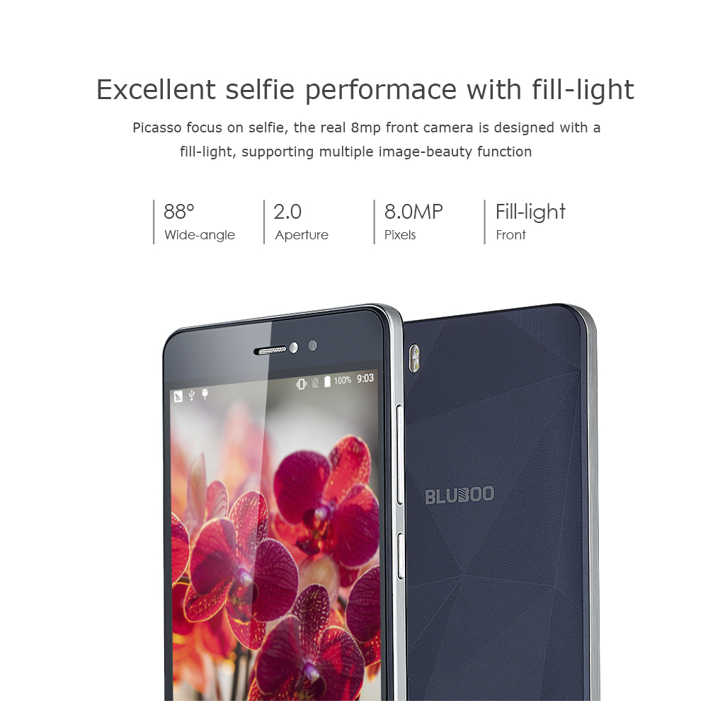 BLUBOO Picasso 3G Smartphone Android 5.1 5.0 inch HD On-Cell IPS LTPS 1280 x 720 Pixels  MT6580 64 Bit Quad Cores 1.3GHz RAM 2GB 16GB ROM Dual SIM WiFi FM Bluetooth