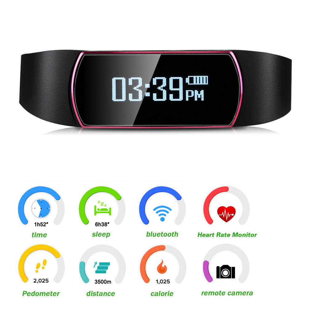 Diggro SH09 OLED Smart Bracelet Bluetooth 4.0 Sports Wristband IP67 Waterproof Heart Rate Pedometer Calorie Sleep Tracker Call Reminder Remote Capture for Android IOS