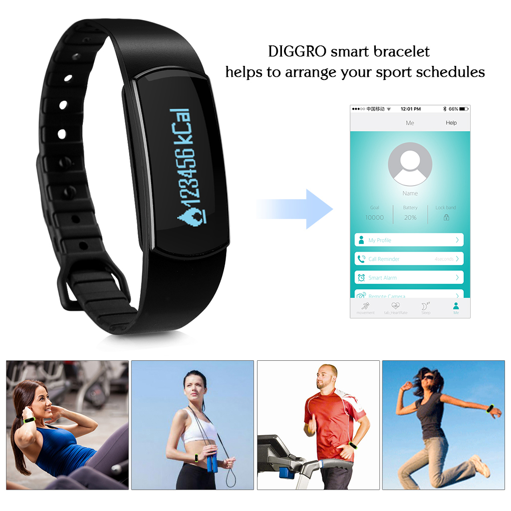 Diggro SH09 OLED Smart Wristband IP67 Waterproof Heart Rate Sports Bracelet Bluetooth 4.0 Pedometer Calorie Sleep Tracker Call Reminder Remote Capture for Android iOS