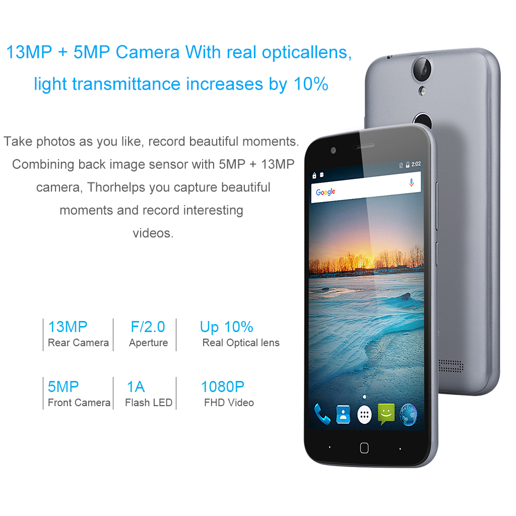 Vernee thor 4G Android 6.0 MT6753 Octa-core 1.3GHz 5.0 HD 1280 x 720 RAM 3GB + ROM 16GB Flash LED 5V 2A Quick Charge