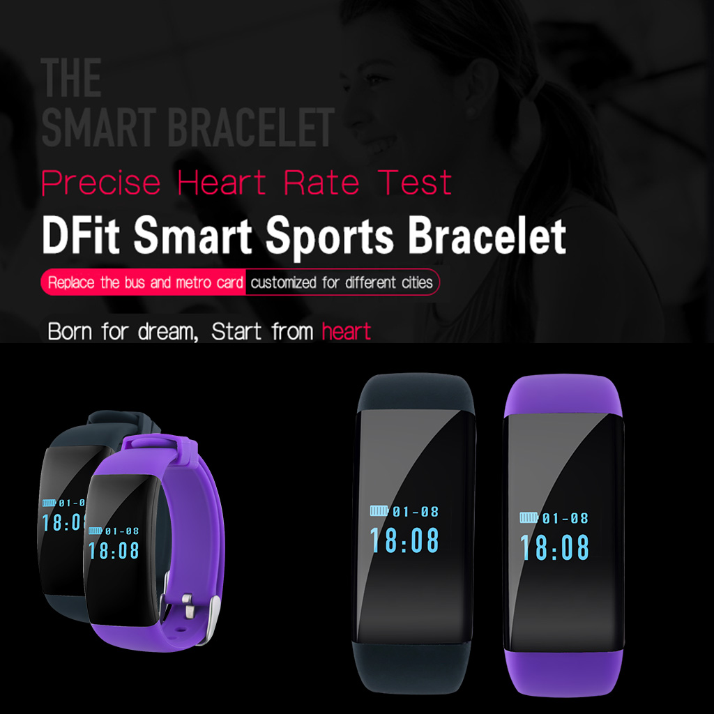 Diggro DFit OLED Smart Bracelet Bluetooth 4.0 IP68 Waterproof Heart Rate Monitor Sports Pedometer Sleep Tracker Call rReminder for Android and iOS