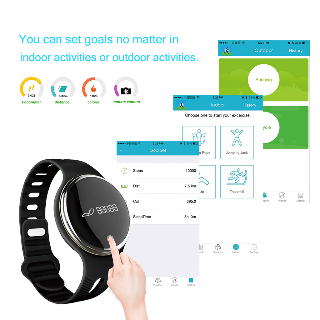 Excelvan E07 Smart Wristband IP67 Waterproof Sports Bracelet Bluetooth 4.0 Pedometer Calorie Sleep Monitor Call/SMS Reminder Remote Capture Sedentary Reminder for Android and IOS