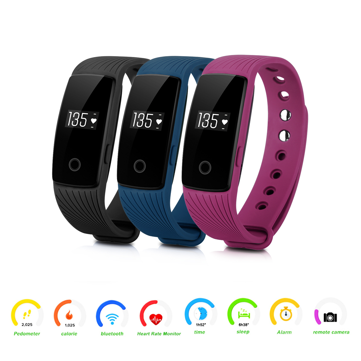 Diggro ID107 Heart Rate Smart Bracelet Call SMS Reminder Pedometer Sedentary Sleep Monitor Remote Capture for Android iOS