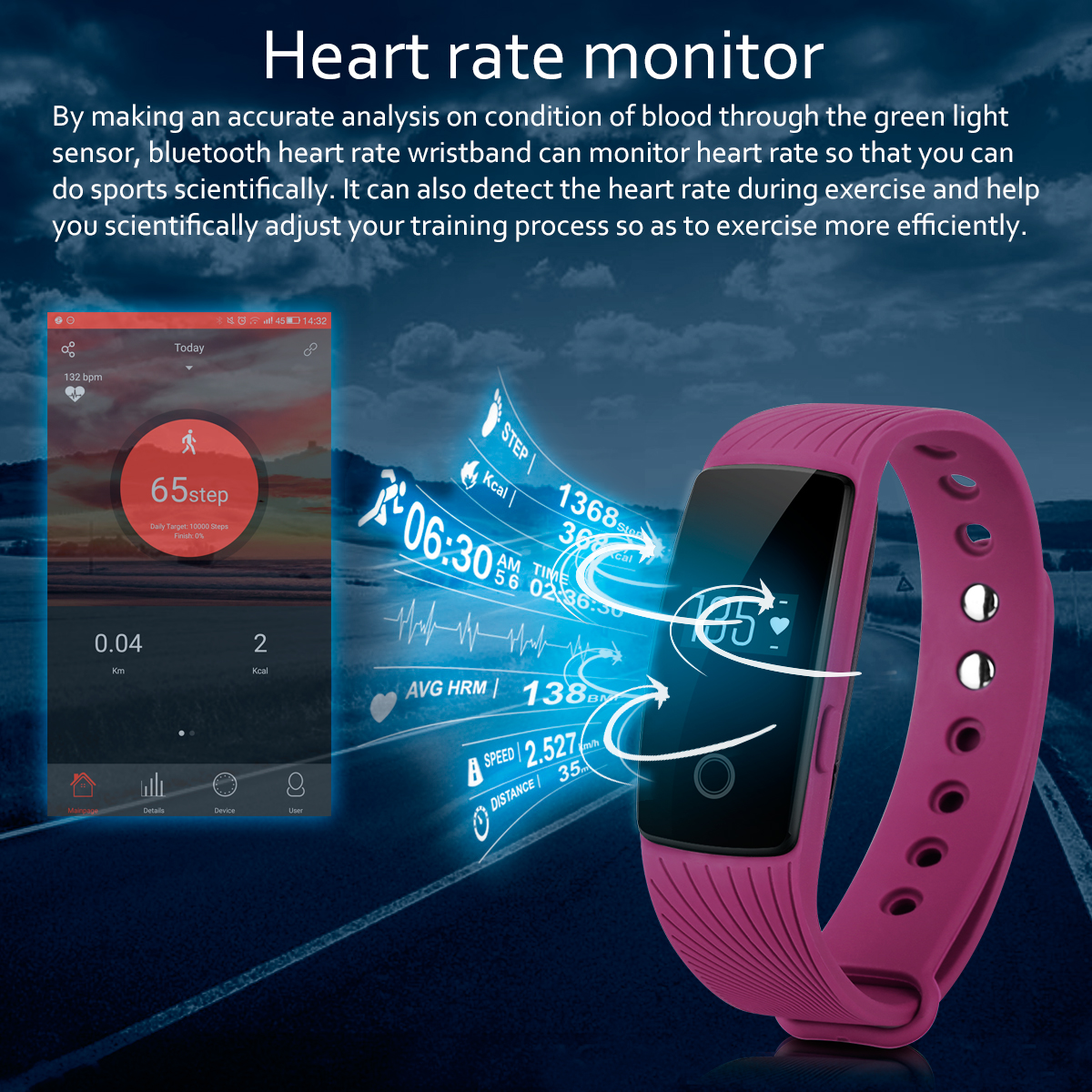 Diggro ID107 Heart Rate Smart Bracelet Call/SMS Reminder Pedometer Sedentary Sleep Monitor Remote Capture for Android iOS