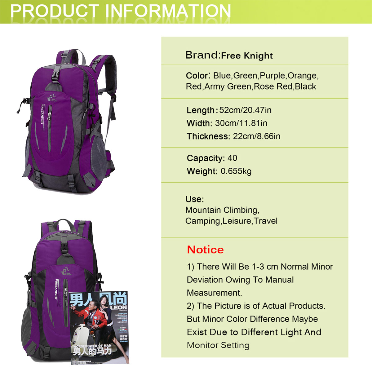 BAG005 Outdoor Hiking Camping Water Resistant Nylon Travel Luggage Rucksack Backpack Bag