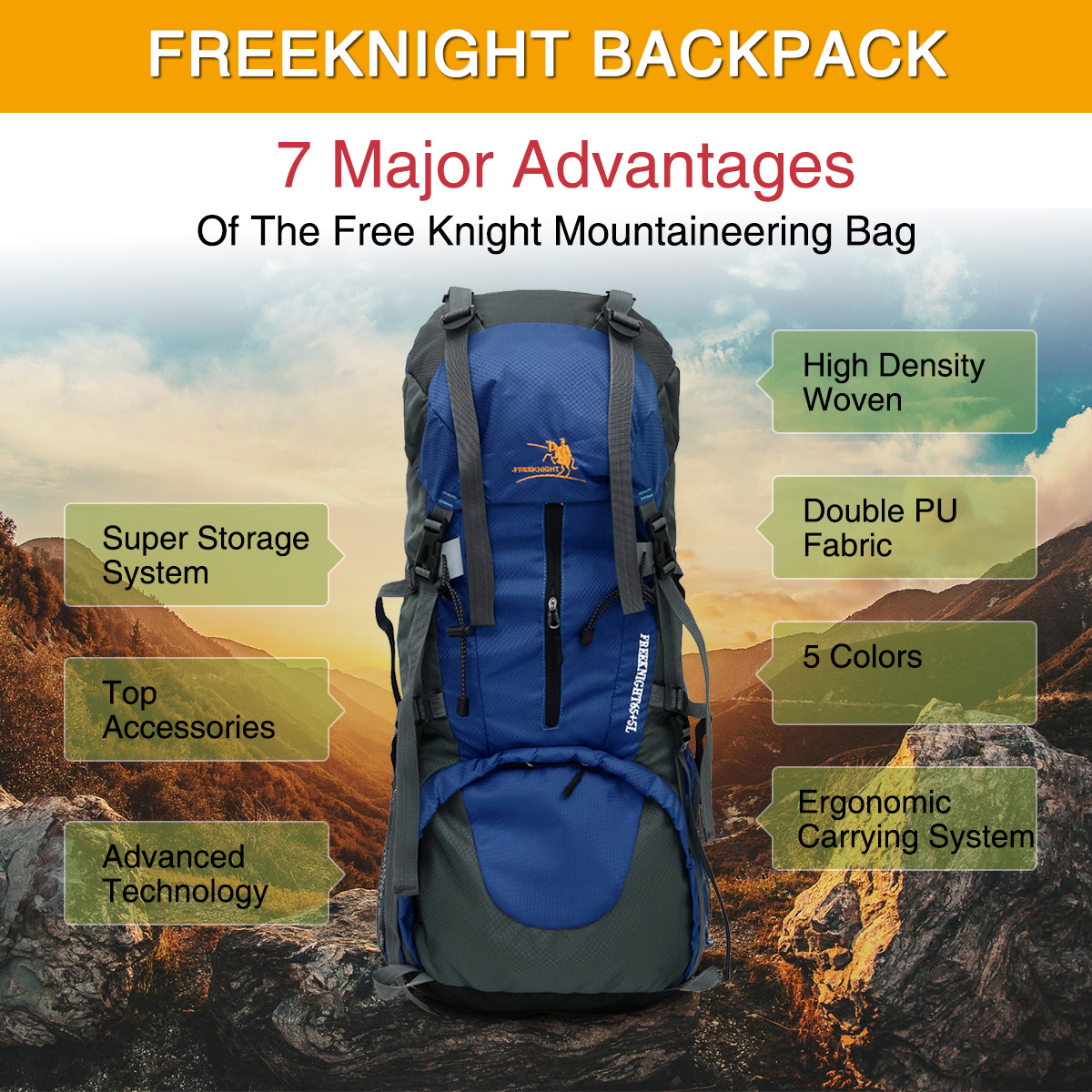 65+5L Camping Travel Rucksack Water Resistant Mountaineering Outdoor Backpack Hiking Bag