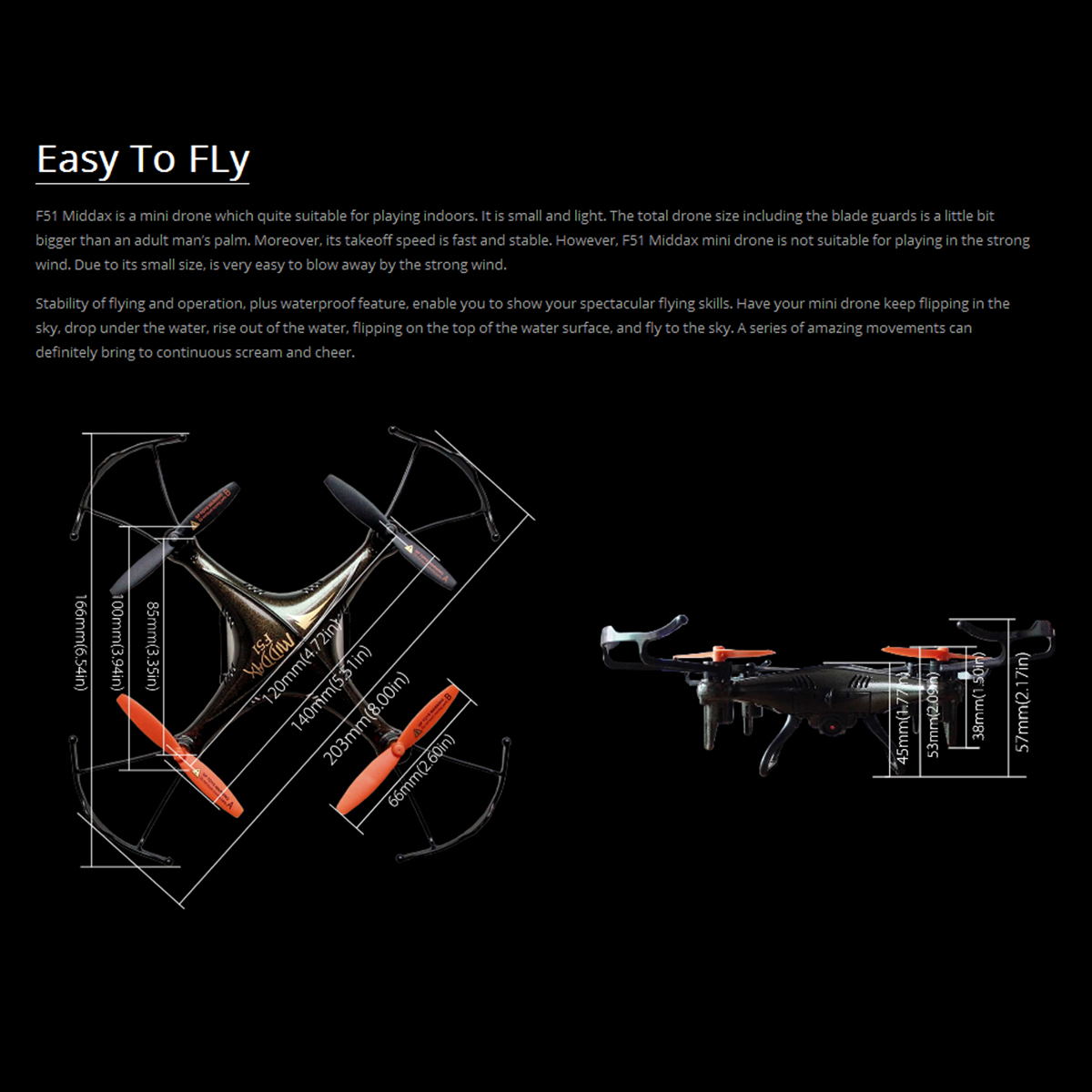 Gptoys F51 One Key Return Waterproof Rc Quadcopter With 20mp Camera Drone  Black