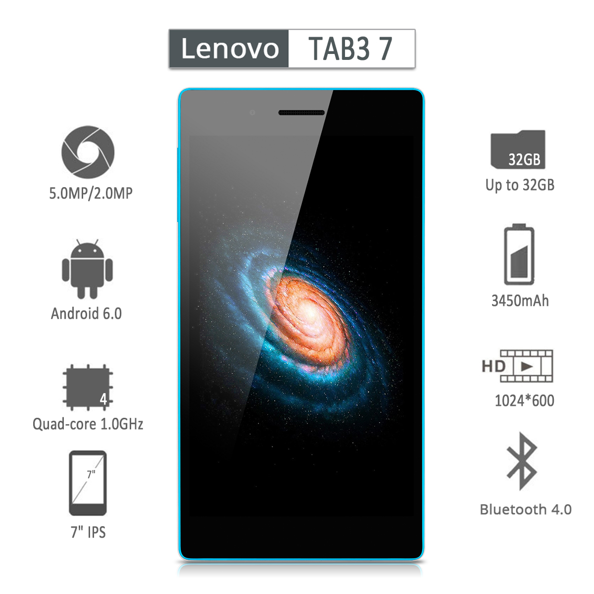 Lenovo TAB3  IPS Tablet Smartphone Android 6.0 MTK MT8735P Quad-core 1.0GHz 3450mAh 1GB RAM+16GB ROM Up to 32GB Dual SIM Double Standby