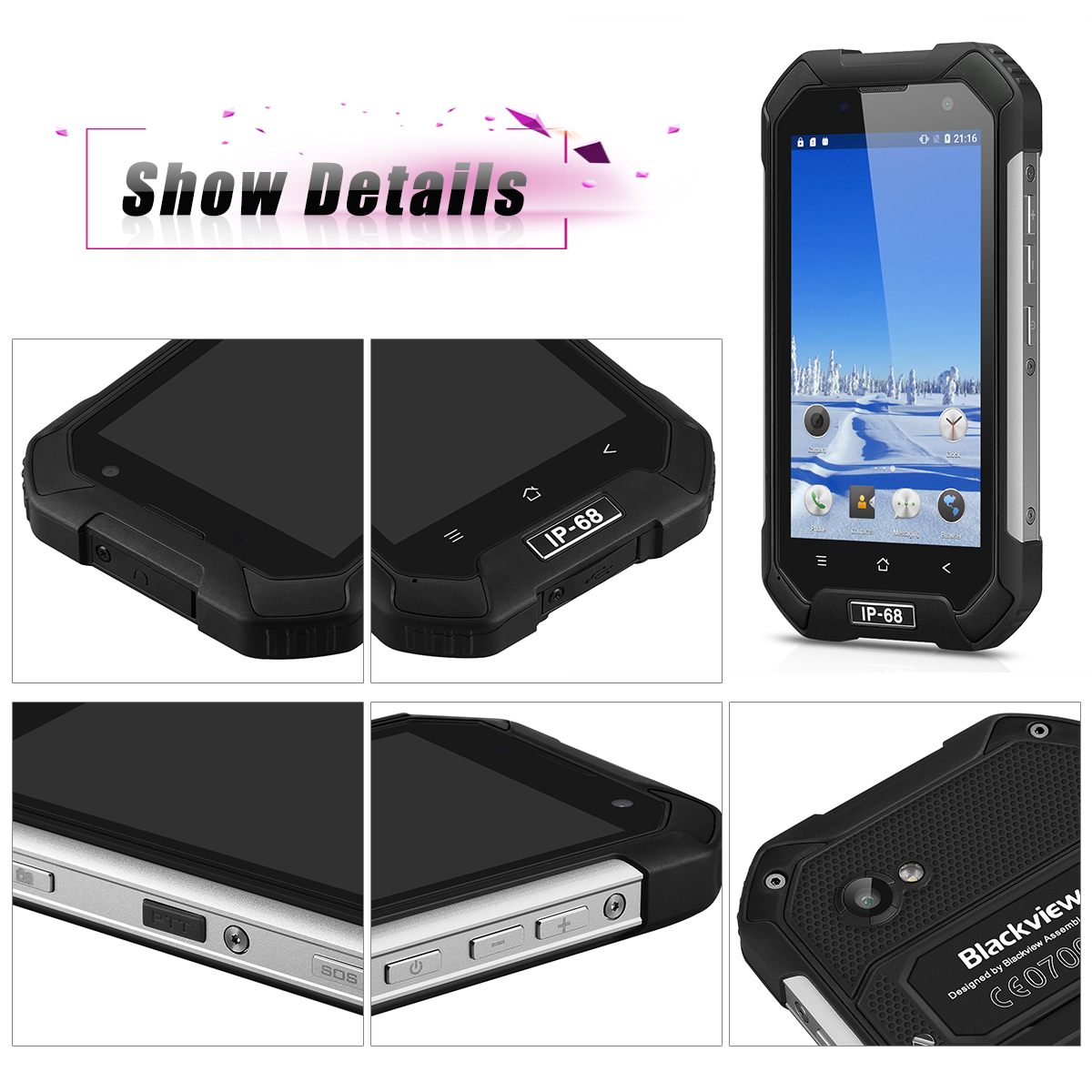 """Blackview BV6000S 4G Android 6.0 MT6735 Quad-core 1.3 GHz 4.7"""" HD 720*1280 Pixels 2GB ROM 16GB RAM 2MP Front camera 8MP Back camera NFC 4200mAh 5 points Double Micro SIM Card GSM/WCDMA/FDD-LTE WIFI GP"""