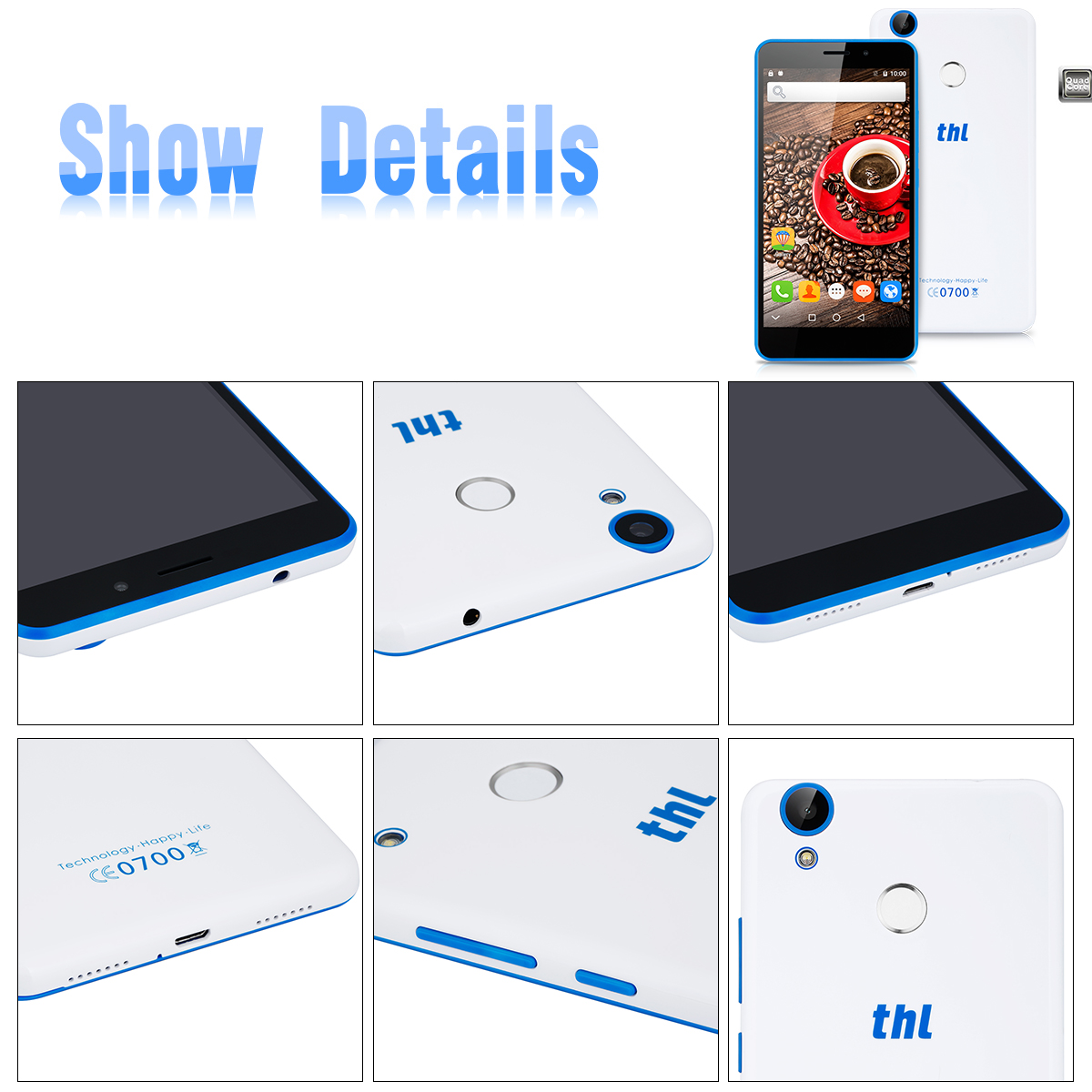 THL T9 4G 5.5 inch HD 1280 x 720 Pixels Android 6.0 MT6737 Quad Cores 1.3GHz 64 bit 1GB RAM 8GB ROM TF 5MP Back Camera 2MP Front Camera LED