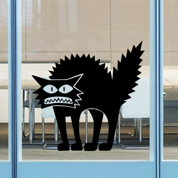 Fashion Horror Black Cat Pattern Wall Sticker For Bedroom Livingroom Decoration