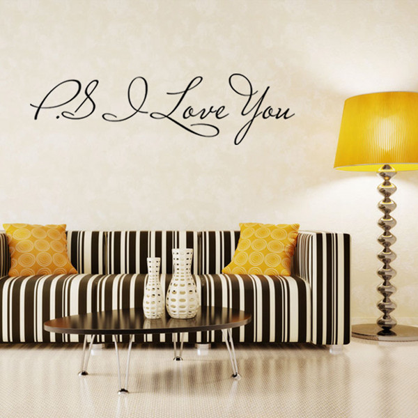 Simple Style Letters Home Decoration Removable Wall Art Sticker
