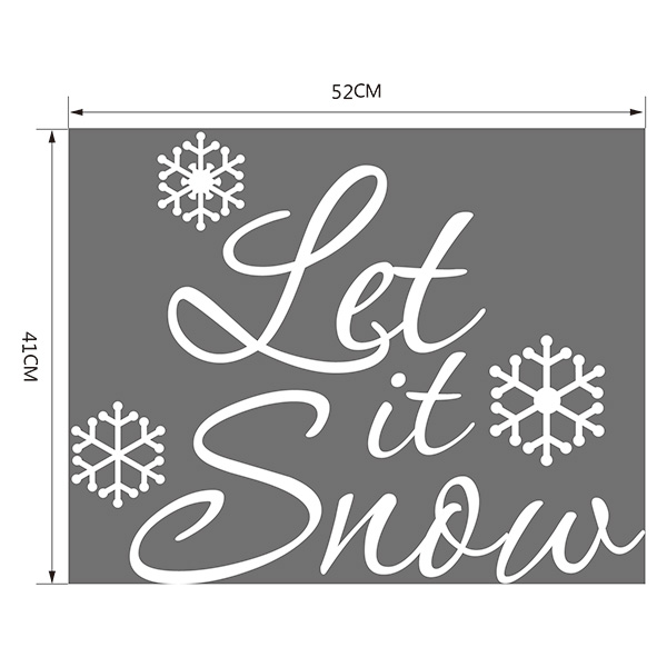 Christmas Let It Snow Removable Glass Window Wall Stickers