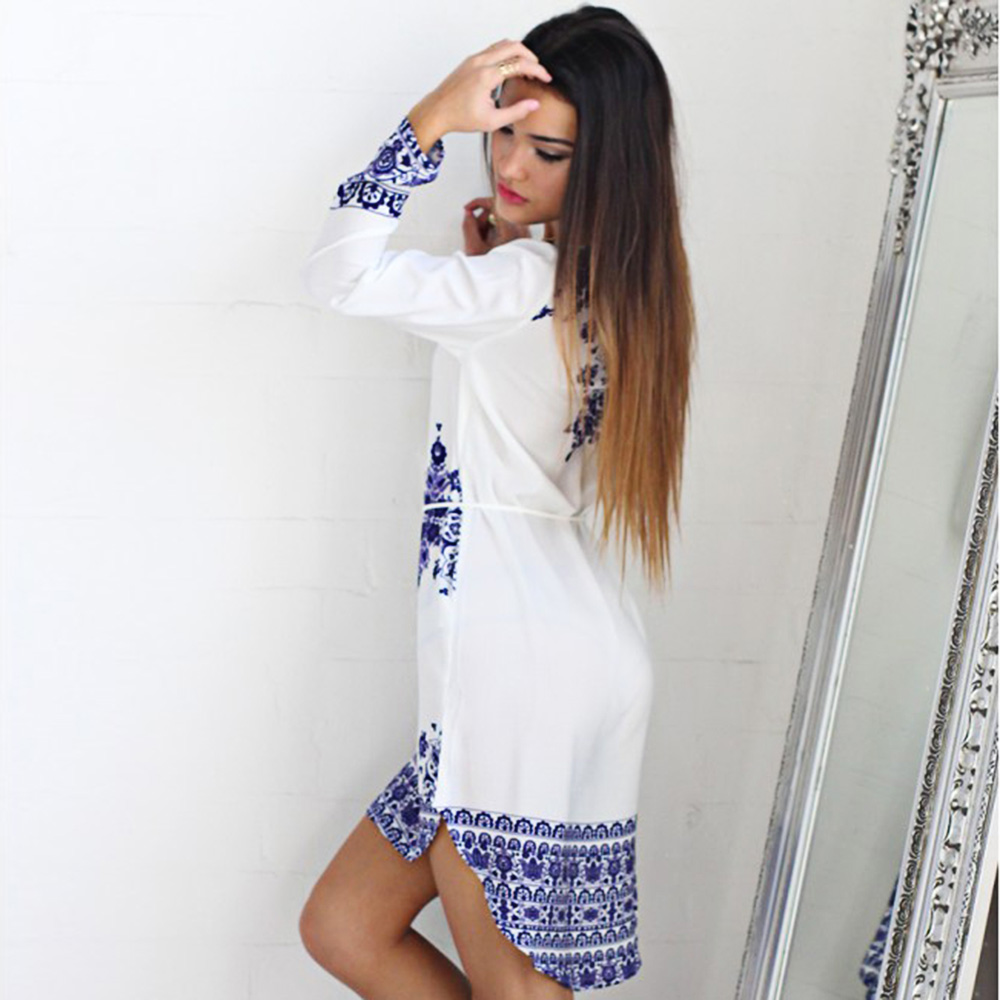 Vintage Jewel Collar Long Sleeve Printed Women Mini Dress