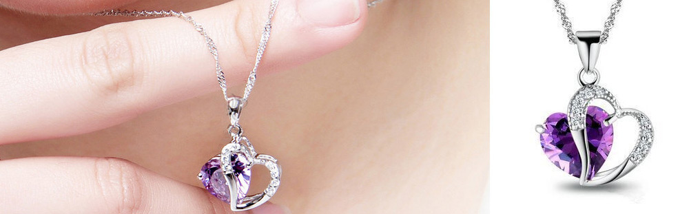 Double Heart Rhinestone Embellished Necklace for Women