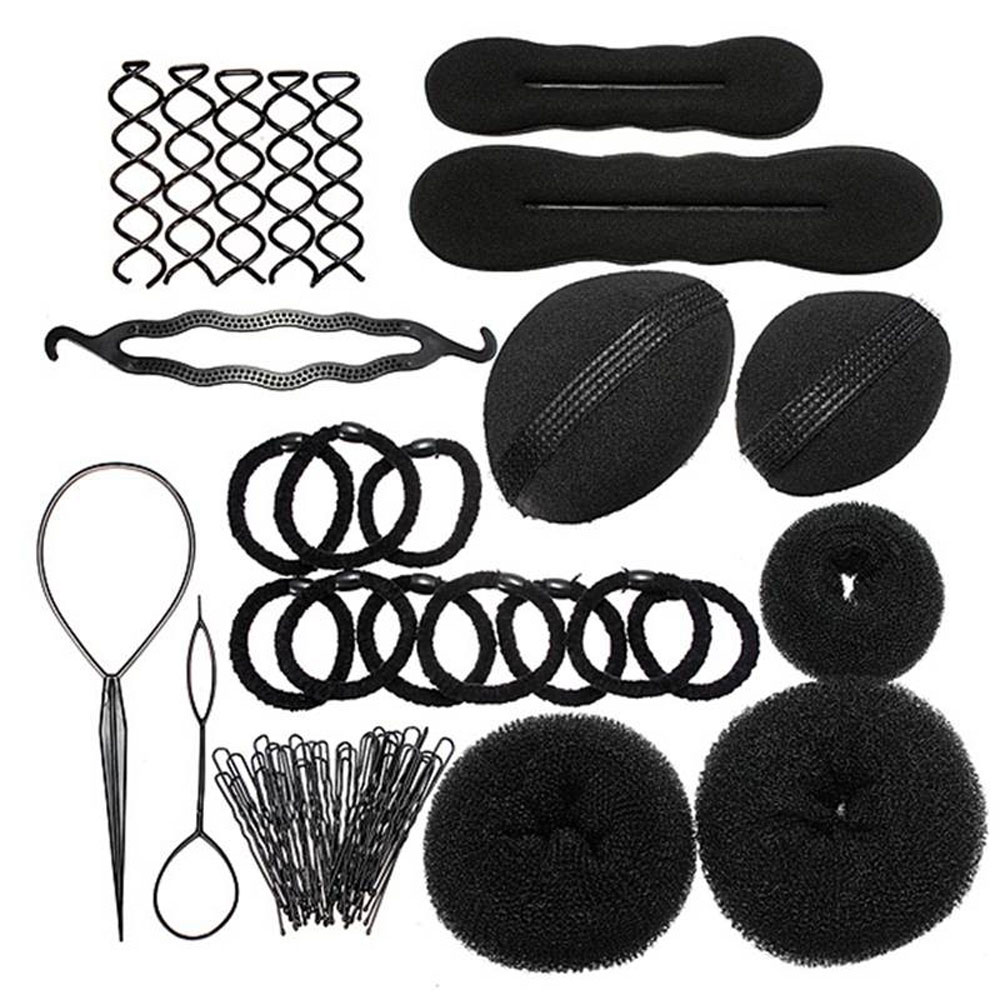 Professional Hair Bun Clip Maker Hairpins Roller Braid Twist Sponge Styling Accessories Tools Kit Set