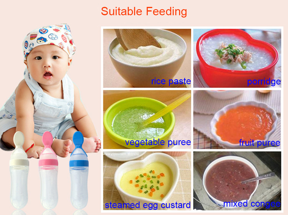 90ml Solid Color Infant Babies Silicon Feeding Bottle with Spoon