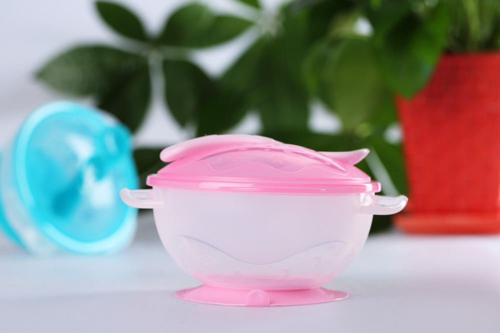 Babies Tableware Suction Bowl with Lid Scoop