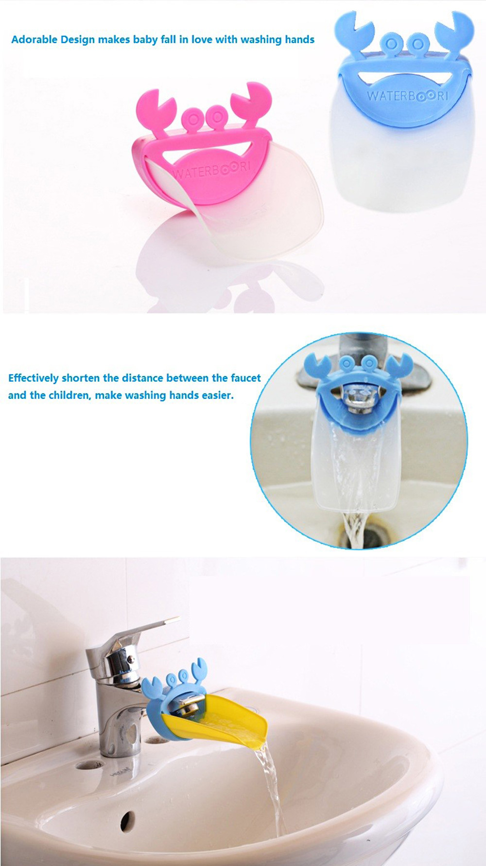 Cute Crab Design Bathroom Sink Faucet Chute Extender for Children Hands Washing